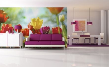 FX Colourful spring flowers wall mural